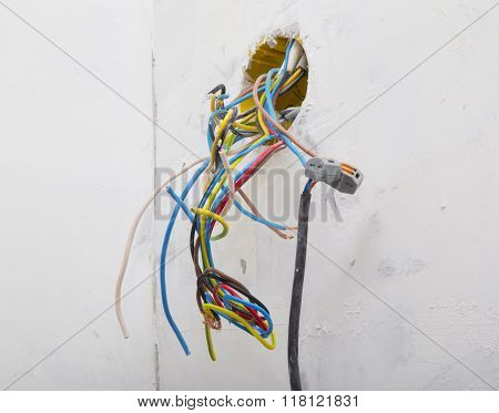 Wires connected with electrical cable