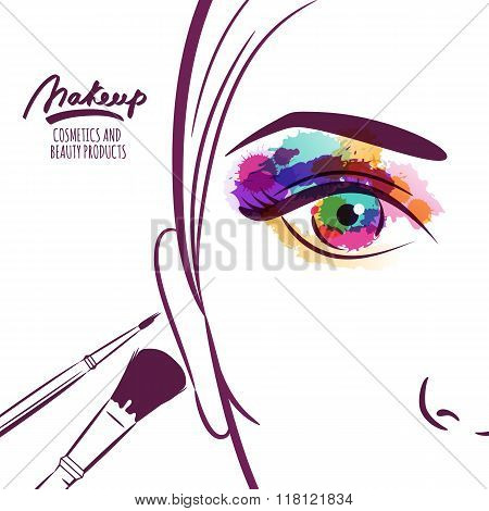Vector Illustration Of Young Woman Face With Colorful Eye And Makeup Brushes.