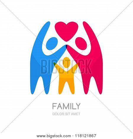 Abstract Multicolor People Silhouette. Illustration Of Happy Family Or Kids.