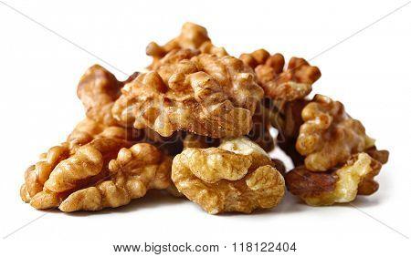 Walnut kernels, isolated on white