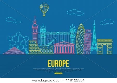Europe travel background with place for text. Isolated European outlined sightseeings and symbols. S