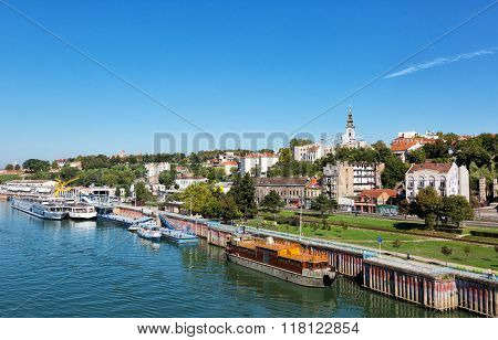 Belgrade From River Sava With Riverboats On A Sunny Day, Serbia