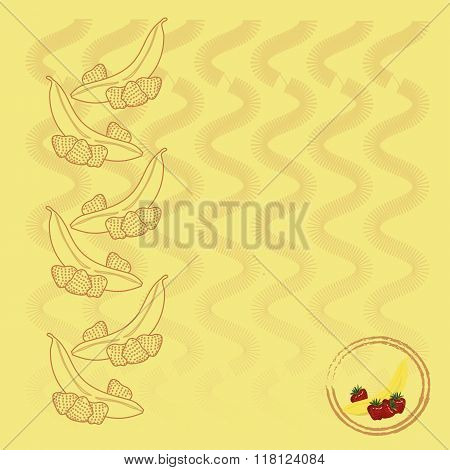 Burgundy contours of bananas and strawberries, vertical waves on light yellow background, painting