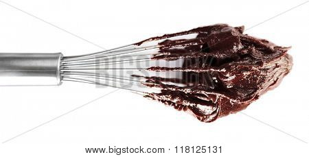 Corolla with chocolate cream, isolated on white