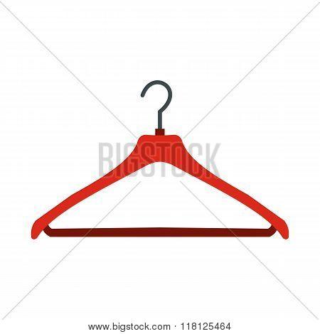 Red coat hanger flat icon