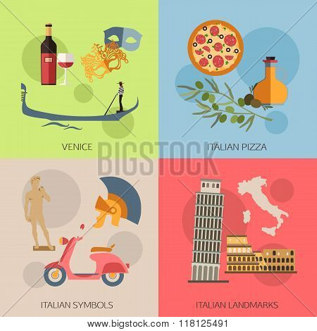 Set of Italy travel compositions with place for text. Venice, Italian Pizza, Symbols, Landmarks. Set
