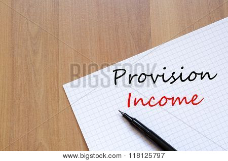 Provision Income Write On Notebook