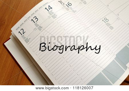 Biography Write On Notebook