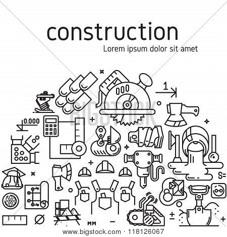 Vector construction illustration with icons and signs in linear style equipment build tool on white