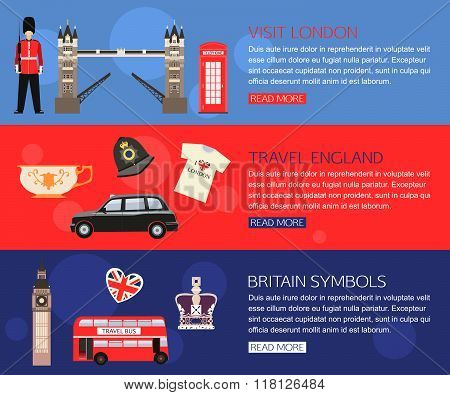 Set of England travel horisontal banners with place for text. Visit London, Britain Symbols, Travel