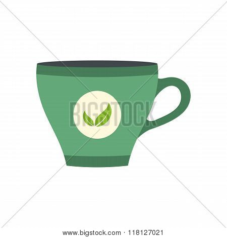 Green tea cup flat icon