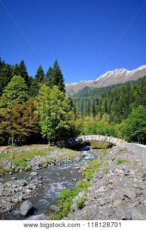 View Of The Mountain River Atsetuka Abkhazia