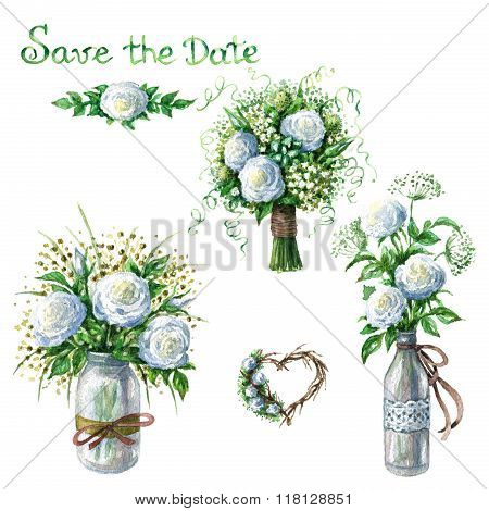 Jars And Wedding Bouquets In Rustic Style.