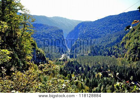 View Of The Valley And The Mountain Road Along The River Yupshera Abkhazia