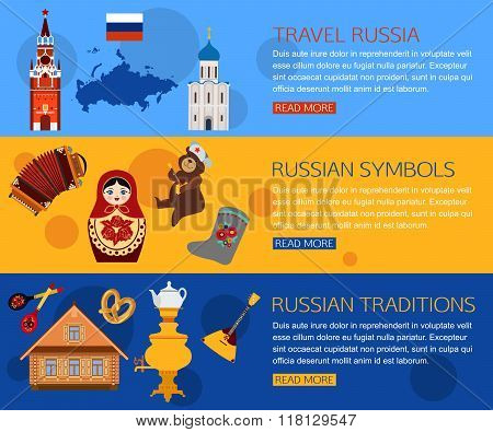 Set of Russia travel horisontal banners with place for text. Russian symbols, travel Russia, Russian