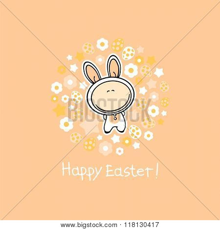 Happy Easter card with a cute white bunny, Easter eggs, flowers and stars