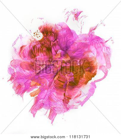 Beautiful purple-red blot on a white background. Graphics, monotype.