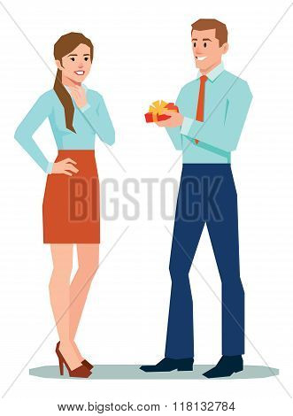 Man In Office Clothes Gives A Woman A Valentines