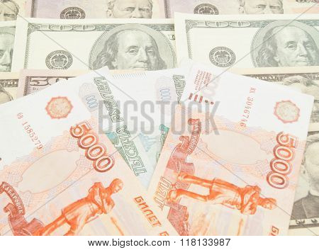 Russian Banknotes And Different Dollars Banknotes