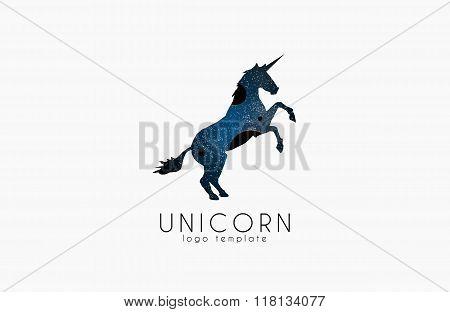 Unicorn logo. Cosmic unicorn. Creative logo template