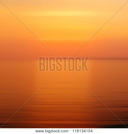 Abstract Orange Background Motion Blur Sunset On The Sea