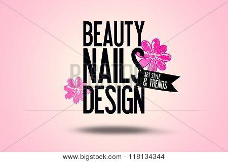 Beauty Nails Design - Background - Copy Space - Manicure - Fashion Illustration Business Logo Advert