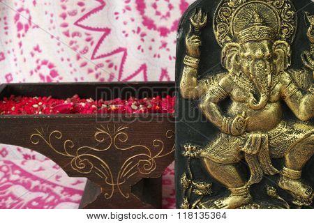 Indian Spiritual Art - Golden Ganesha Elephant On Background With Indian Ornament