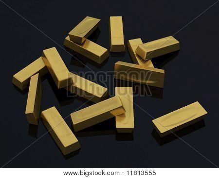 Goldbarren in loser Schüttung auf schwarzem Hintergrund