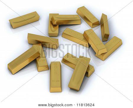 Goldbarren in loser Schüttung auf weißem Hintergrund