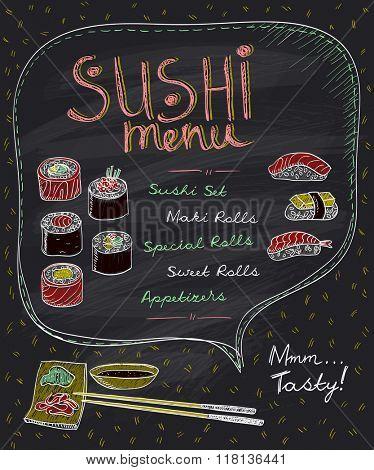 Hand drawn sushi menu design on a chalkboard