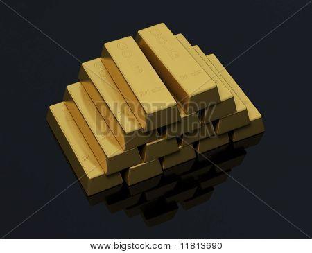 Haufen von Goldbarren auf schwarzem Hintergrund