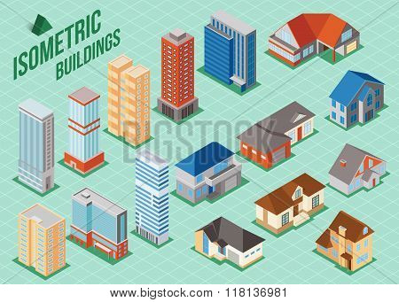 Set of 3d isometric private houses and tall buildings icons for map building. Real estate concept.