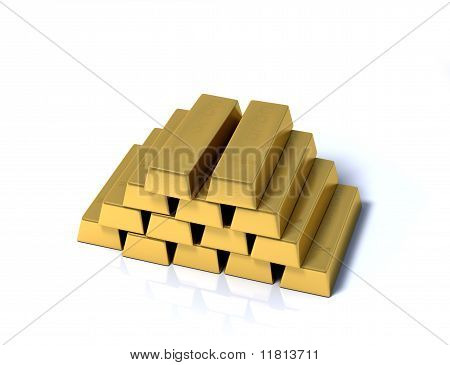 Haufen von Goldbarren auf weißem Hintergrund