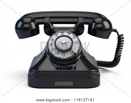 Old-fashioned retro rotary telephone isolated on white