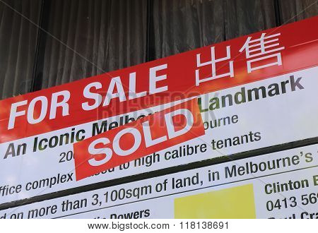 Real estate sold sign Australia