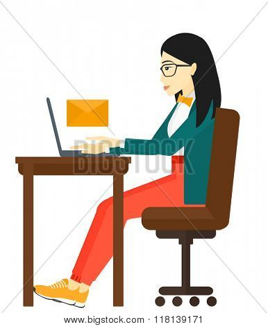 Woman receiving email.