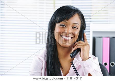 Young Black Businesswoman Talking On Phone