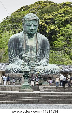 Kamakura, Japan - May 06, 2014 :the Great Buddha (daibutsu) On The Grounds Of Kotokuin Temple In Kam