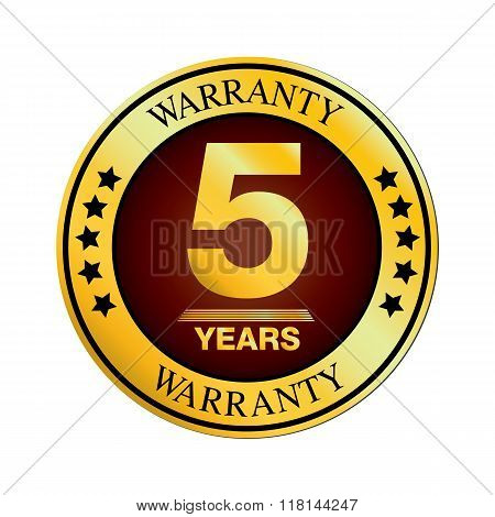 Warranty Design. Five Year Warranty Design isolated on white background.