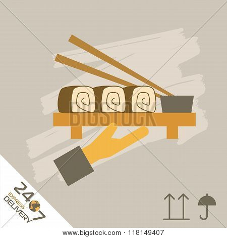 Sushi express delivery icon. Food delivery. Order service. Symbol of food delivery. Sushi express delivery vector icon. Food shipping service. Express delivery sign. Sushi delivery sign. Express delivery illustration. Food delivery service icon.