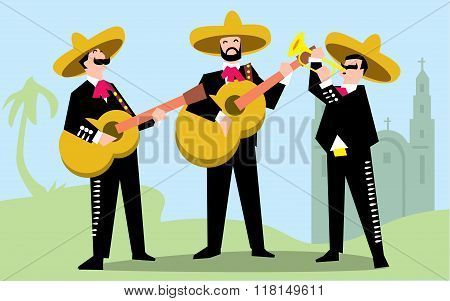 Mariachi Band in Mexican Sombrero with Guitar. Mexican Music Band. Vector illustration. The music group in traditional Mexican costumes. Mariachi Band cartoon characters. Mexican music. Mexican singer.