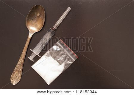 Syringe, Spoon And Drugs