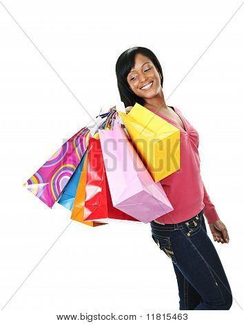 Young Smiling Black Woman With Shopping Bags
