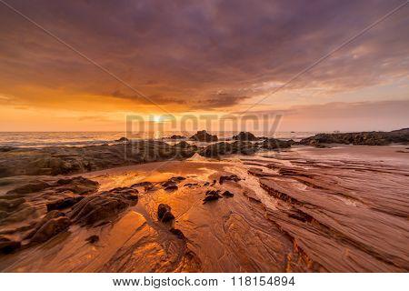 Sunset over Khao Lak beach Thailand