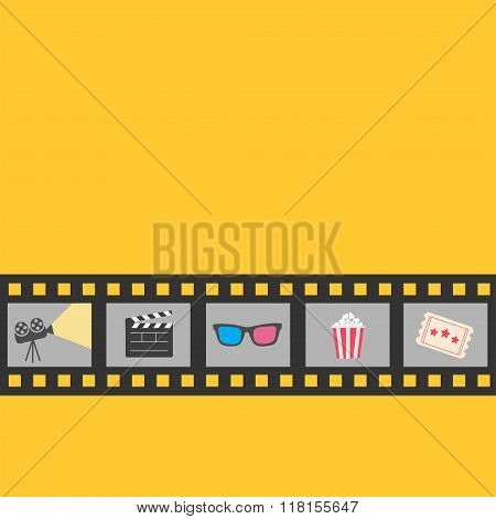 Film Strip Icon Set. Popcorn, Clapper Board, 3D Glasses, Ticket, Projector. Cinema Movie Night. Yell