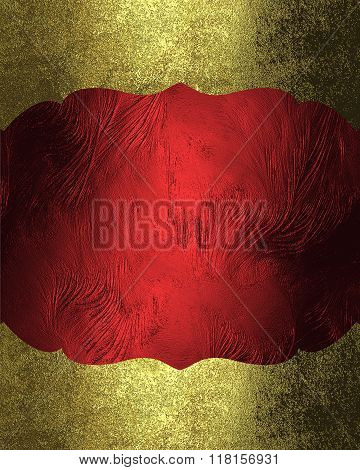 Red Plate With Gold Grunge Edges. Element For Design. Template For Design. Copy Space For Ad Brochur