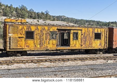 Old Railroad Car On A Siding