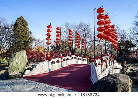 A Bridge in a Historic Traditional Garden of Beijing, China in winter, during Chinese New Year