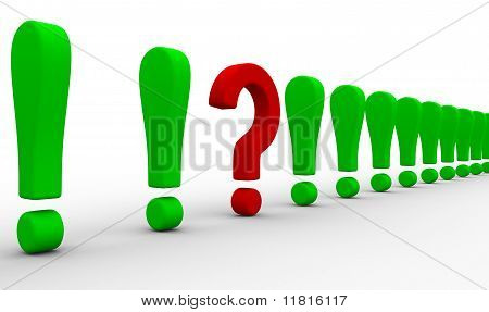 Question Among Exclamation Marks. Isolated 3D Image