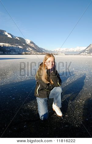 Ice Skating On Frozen Lake